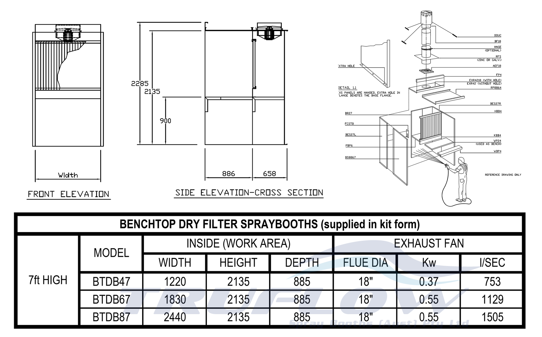 Truflow 187 Bench Type Spraybooth Small Parts Spray Booth